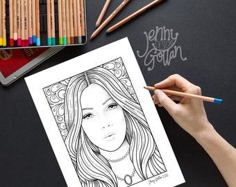 Printable Colouring Page Brigitte