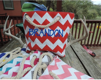 Personalized Kids Beach Bag -  Striped Chevron Waves Monogrammed Tote Bag With Rope Handles