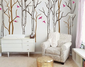 "Baby Nursery Wall Decals - Birch Trees Decal - Tree Wall Decal - Tree Wall Decals - Tree Wall Decal - Large: approx 95"" x 129"" - KC049"