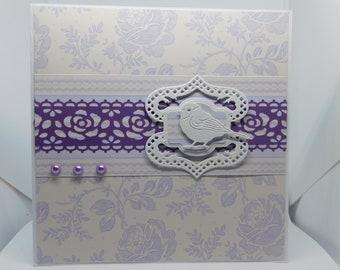 Any Occasion Lavender/Purple with Bird 6 x 6 Card