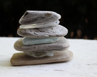 Zen Driftwood & Sea glass Sculpture , Beach Shelf Accent ,  Mermaid Decoration , Coastal Fine Art