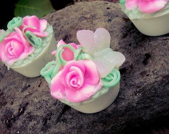 Garden Butterfly Soap, Wedding Favor, Pink Rose, Butterfly Soap, Party Gift, Small Soap Favor, Garden, Shower Favor, Scented, Handmade