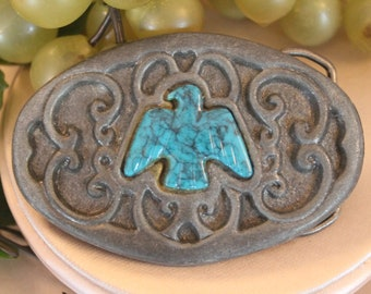 Vintage Pewter Belt Buckle with Carved Turquoise Eagle