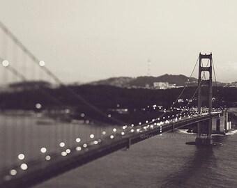 black and white San Francisco photography, Golden Gate bridge at night print, gray silver, cityscape, landscape, modern decor, California