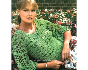 Crochet Top Pattern Shell Lace Sweater Crochet Pattern Flared Sleeve Womens Feminine Light Jumper PDF Instant Download Size 6 to 16 - C155