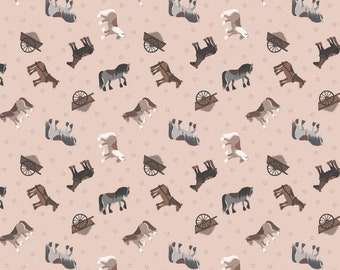 Small Things Farm Horses Plaster Pink Cotton Quilting Sewing Fabric