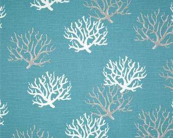 READY TO SHIP Coral curtains slub teal curtains beach curtains blue curtains ready to ship curtains.
