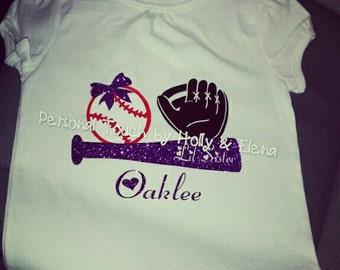 Lil sister baseball glitter shirt