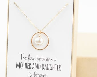 Mother of the Bride Necklace (gold eternity necklace with pearl)
