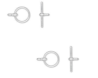 5739FY Toggle Clasp Silver ptd, 12mm, Round, 10 Qty