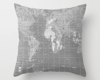 World Map Pillow - Grey and White Map of the World throw Pillow-  travel Decor - modern home, apartment, dorm, wanderlust
