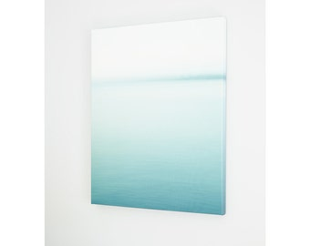 Oversized modern beach art canvas. Abstract ombre print. Minimalist nautical artwork for coastal home. Promotion gift for art lover.