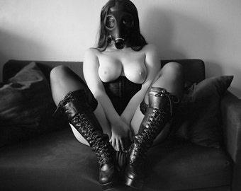 Naked art woman black and white medium format film fetish lingerie boots and gasmask photo print wall art - Gritty in 120 - 6x6 - 03