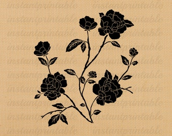 Roses flowers digital image, instant download, printable iron on fabric transfer, downloadable images, clip art, scrapbooking - no. 205