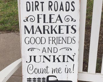 Flea Market Sign, Junking Sign, Farmhouse Sign, Rustic Sign, Wooden Distressed Sign