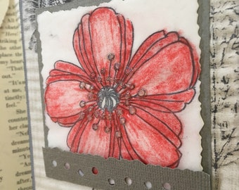 Floral Art Birthday Card Vintage Papers Handmade