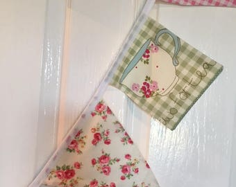 Country Kitchen Bunting in Pink Florals, Checks and Stripes