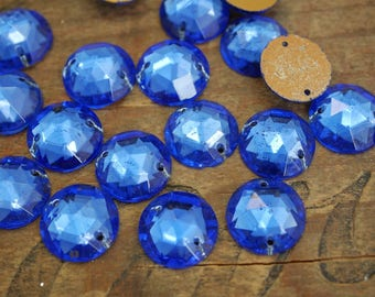 Vintage Sew On Rhinestone Two Hole Faceted Glass Sew On Beads 15mm Sapphire Blue (4) R29