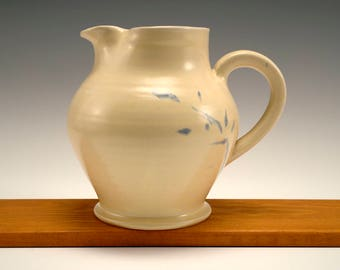 Stoneware Pitcher with Blue Detail
