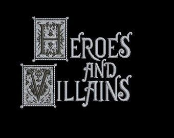 """Machine Embroidery Design Instant Download - Once Upon A Time """"Heroes and Villains"""" Book Cover"""
