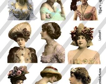 Ladies Digital Collage Sheet. Ladies No. 1 (Sheet no.  L1) Instant Download