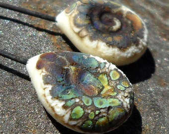 Rainbow cavern- Handmade lampwork glass headpins- teardrop paddle  rustic lampwork headpins with rainbow raku and a spiral on a steel