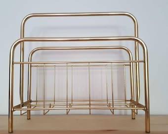 70s magazine rack brass, gold, brass magazine rack Retro Interior Deko 70 s