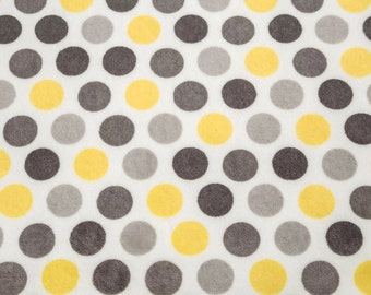 Personalized Minky Baby Blanket - Polka Dot in Lemon Yellow, Gray and White - Baby Girl or Boy - You Choose Solid Minky Color - Double Minky