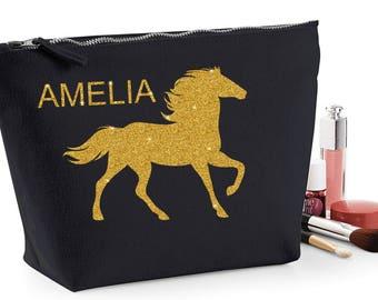 Personalised glitter horse pony make up wash bag pencil case ~ gold glitter