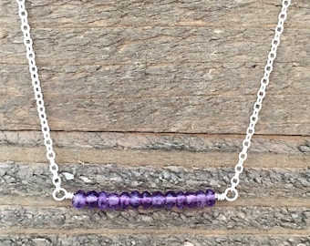 Amethyst Gemstone and Sterling Silver Bar Necklace , Gemstone Bar Necklace, Dainty Minimalist Bar Necklace, Layering Necklace, Ready to Ship