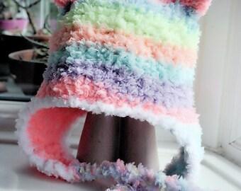 12 to 24m Rainbow Bear Earflap Hat, Bear Beanie, Toddler Hat, Earflap Bear Hat, Rainbow Bear Hat Toddler Photo Prop