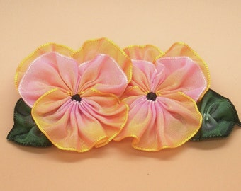 Double Pink and Golden Yellow Pansy Applique