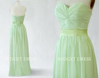 A-line Sweetheart Floor Length Chiffon Prom Dress with Lace-up - Bridesmaid Dresses - Prom Dresses - Long Chiffon Dresses - Mint Green Dress