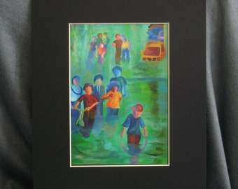 Walking in The Flood 5 x 7 PRINT with 8 x 10 Black Matte