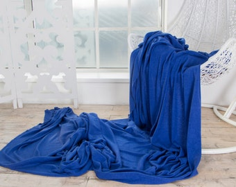 Luxury Italian Wool Viscose Angora Sweater Knit Fabric ROYAL BLUE Knitted Tricot Jersey Mediumweight Soft Natural by the yard Sewing DIY