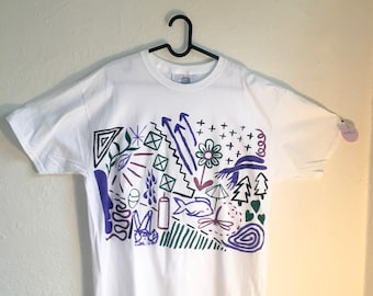 Painted White T-Shirt by Sam Pletcher 〰 Hand Painted One of a Kind Adult Large Shirt 〰 Black, Metallic Violet, Purple and Spruce Green
