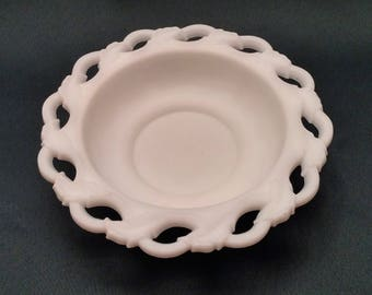 Imperial Glass Open Leaf Milk Glass Doeskin Bowl