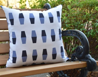 Bowling Pins 16 inch Navy Blue Decorative Geometric Throw Outdoor Pillow