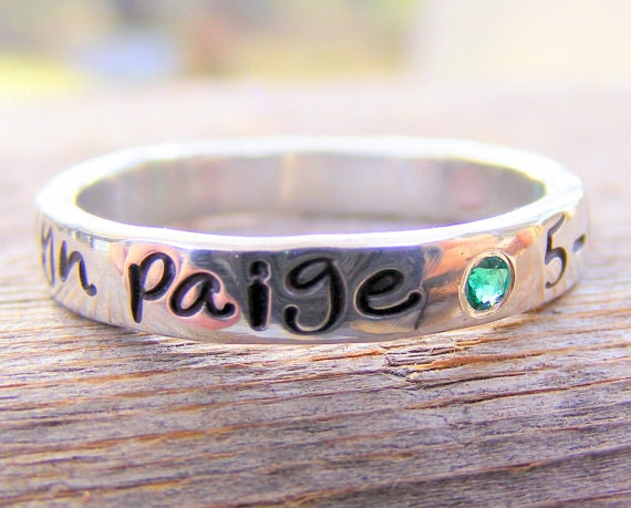 Mother's Day Birthstone Ring - Flush Set Gemstones -personalized - Engraved - Childrens Name - Stacking Rings - Memory Ring
