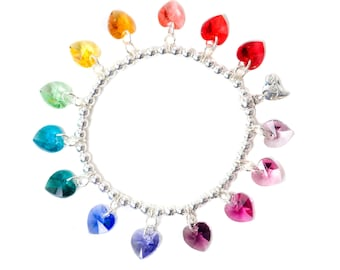 Rainbow Candy Hearts Sterlingsilber & SWAROVSKI Kristall Armband
