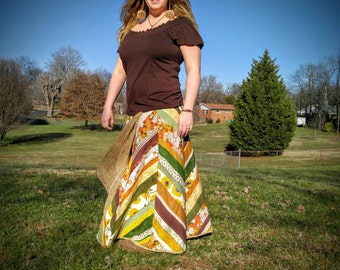 Retro Long Wrap Skirt made with Vintage Materials Patchwork Medium Large XL Extra Large