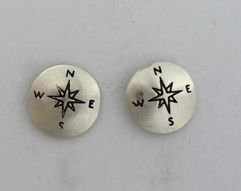 Sterling Silver Stamped Compass Post/Stud Earrings