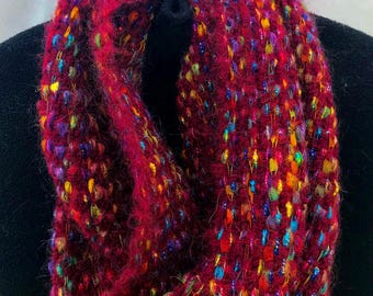 Handwoven Red Mohair Infinity Scarf