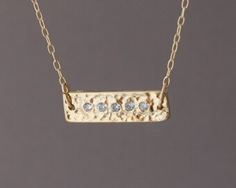 Gold Sideways Bar Necklace with Cubic Zirconias also in Silver