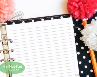 Printed lined paper insert - Half letter planner insert - Lined planner refill - Notes insert - Half letter A5 insert - 08H