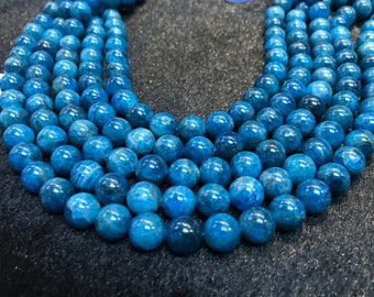 Half Strand 10mm Neon Apatite Smooth Round, Perfect Round Beads- 20cm Length -