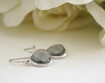 Dangle Earrings, Gray Earrings, Bridesmaids Jewelry, Gray Wedding, Birthday Gift, Bridesmaid Earrings, best friend gift, birthday gift