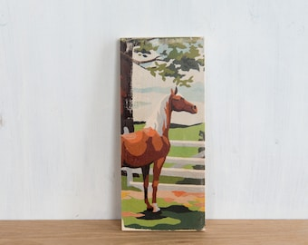 Paint by Number Art Block 'Ranch Horse' - vintage, trees, ranch, horse farm