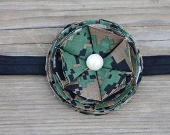 Marine Corps Woodland Cammie Flower Bloom Baby Headband, Military Camo Accessory