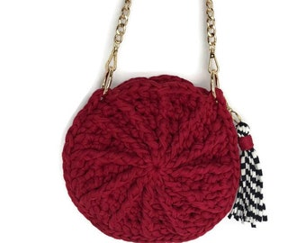 Round Crossbody Bag | 100% Handmade |Crochet Bags | Knit Bags | Red Purse | Purse with Gold Chain
